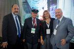 Aldo Signorelli, gerente general de Puerto San Antonio, almirante Hernán Couyoumdjian, la diputada María José Hoffmann y Jorge Arancibia, director de Empresa Portuaria Valparaíso