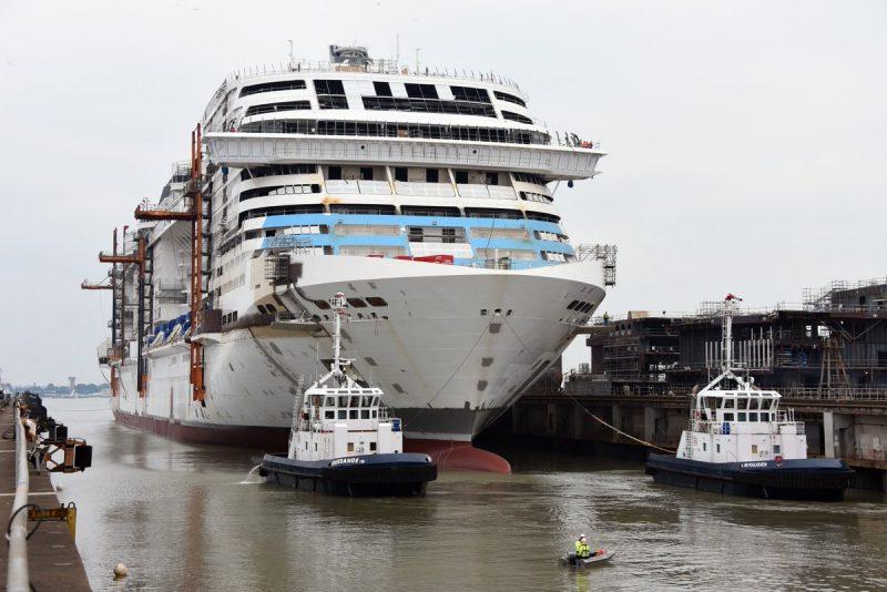 Celebran botadura del crucero MSC Grandiosa en astillero Chantiers de l'Atlantique