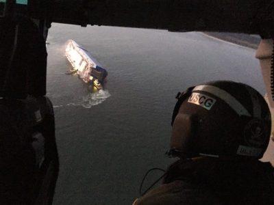 Rescatados 4 tripulantes de buque de carga que se volcó en Georgia