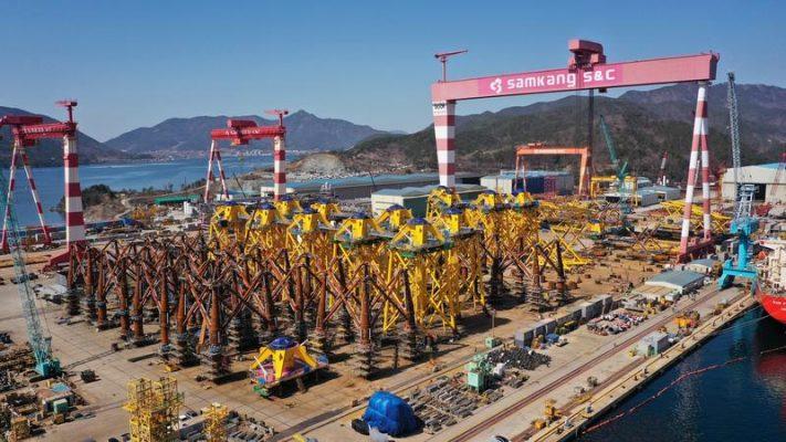 Jan De Nul se acerca a la finalización de la fabricación de cimientos para el parque eólico marino de Changhua en Taiwán