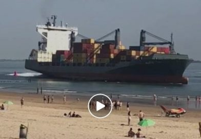Captan en video peligrosa aproximación de portacontenedores Valdivia a playa de los Países Bajos