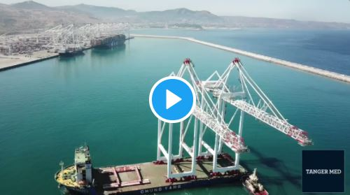 Video: Terminal TC3 del Puerto de Tanger Med II recibe sus primeras grúas